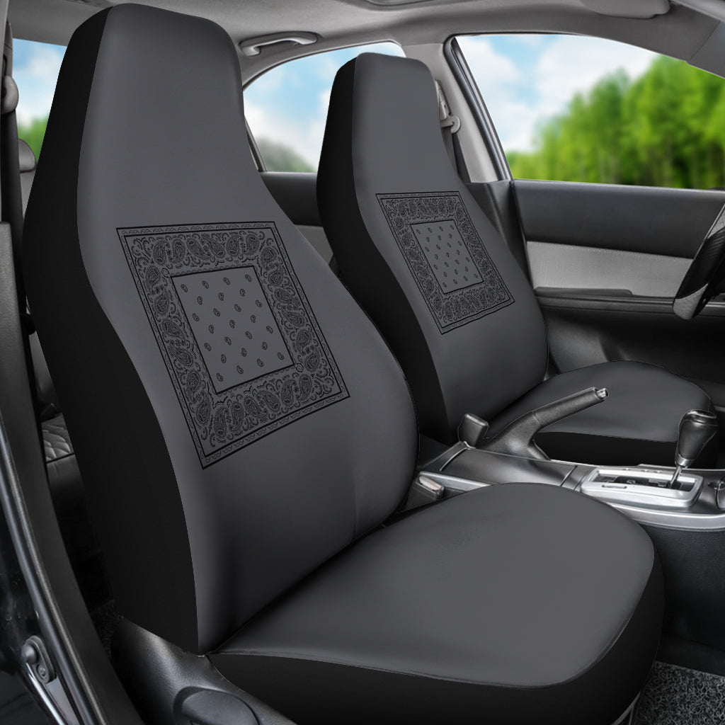 Grey and black car seat cover