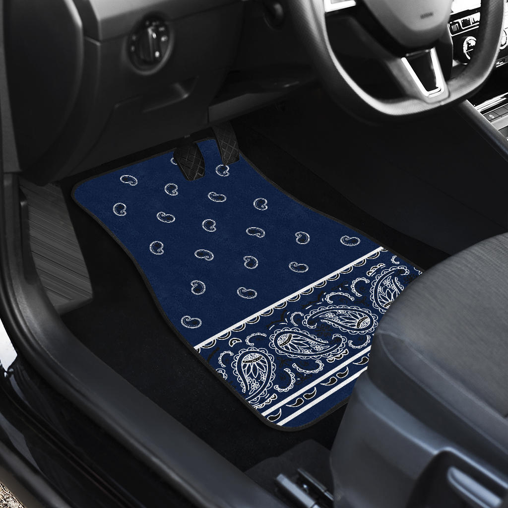 Quad Navy Bandana Car Floor Mats - Fancy
