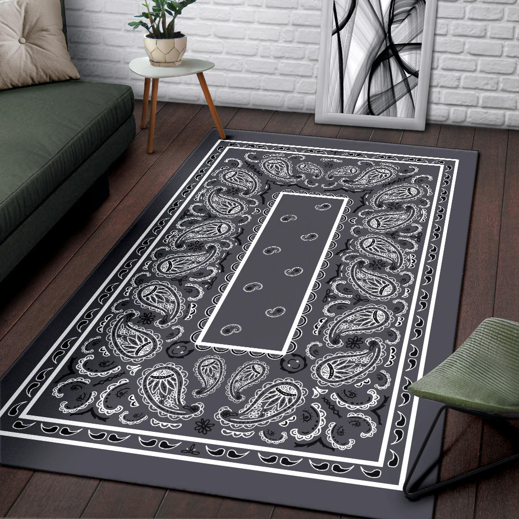 Classic Gray Bandana Area Rugs - Fitted