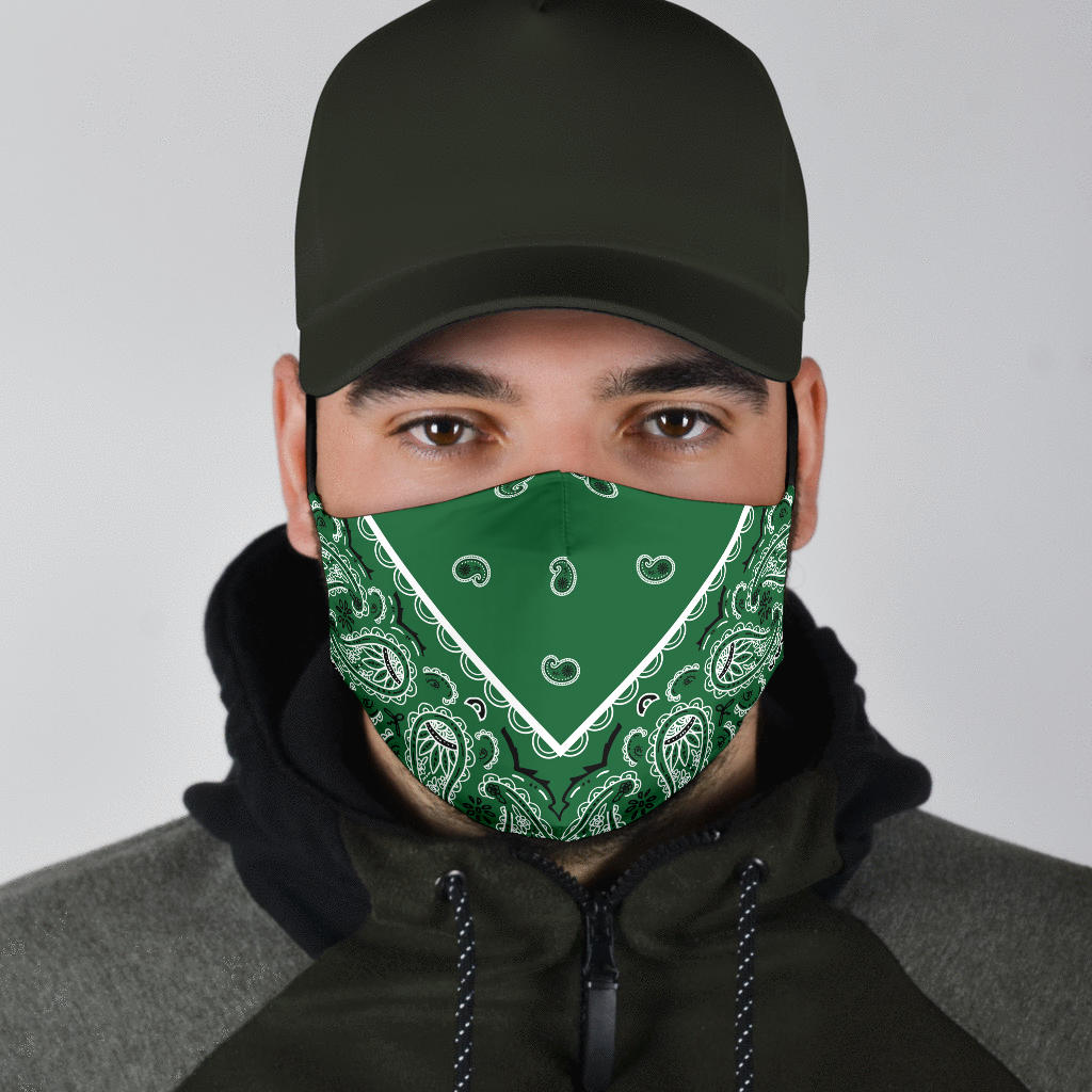 green bandana face covid face masks