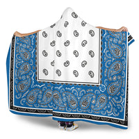 blue and white hooded sherpa blanket side