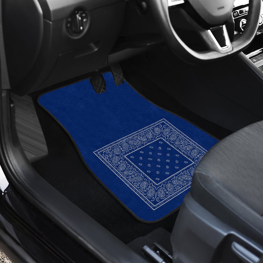 Quad Blue and Gray Bandana Car Mats - Minimal