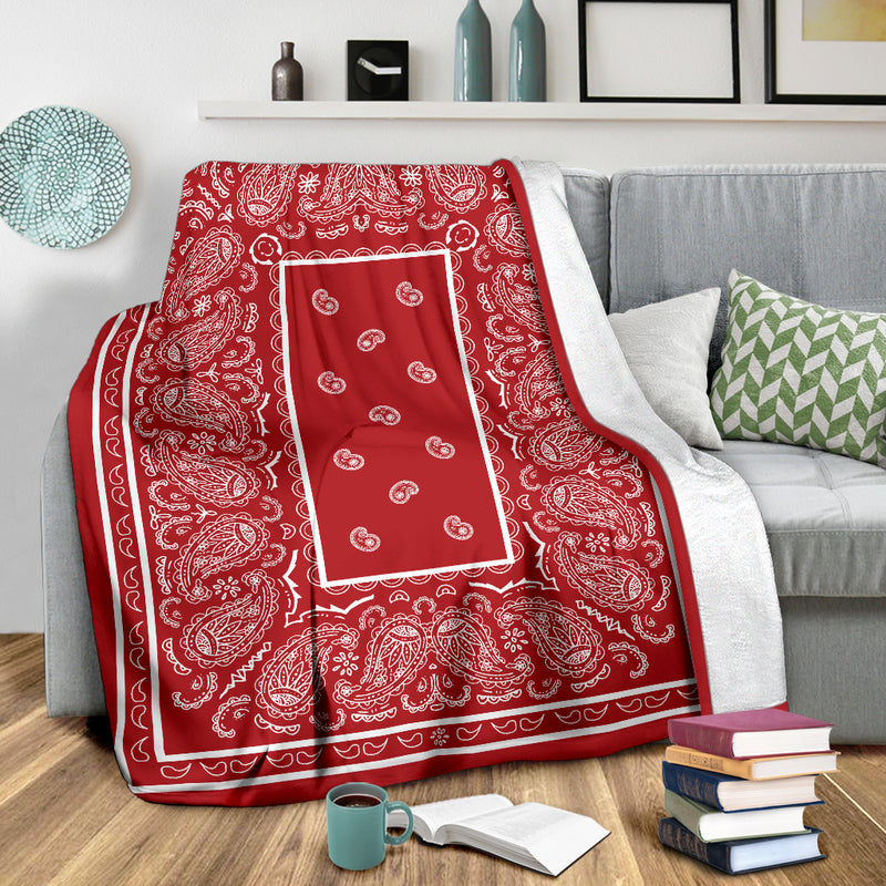 Red with White Fleece Throw Blanket