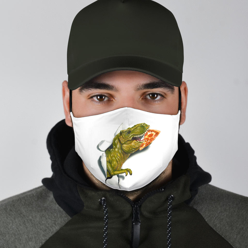 pizza eating t-rex face mask