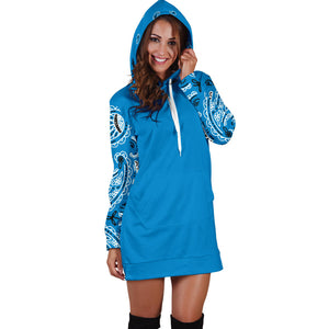 Front Sky Blue Bandana Hoodie Dress