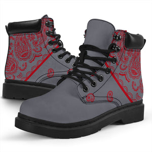 Gray and Red Bandana All Season Boots