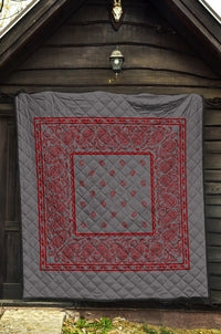 Gray and Red Bandana Bedspread