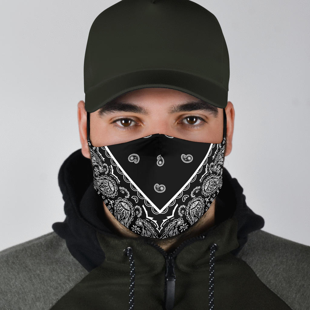 black bandana covid face mask