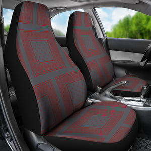 Gray and red car seat covers