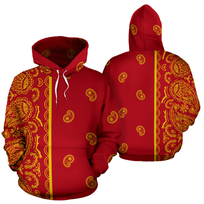 red and gold bandana pullover hoodie