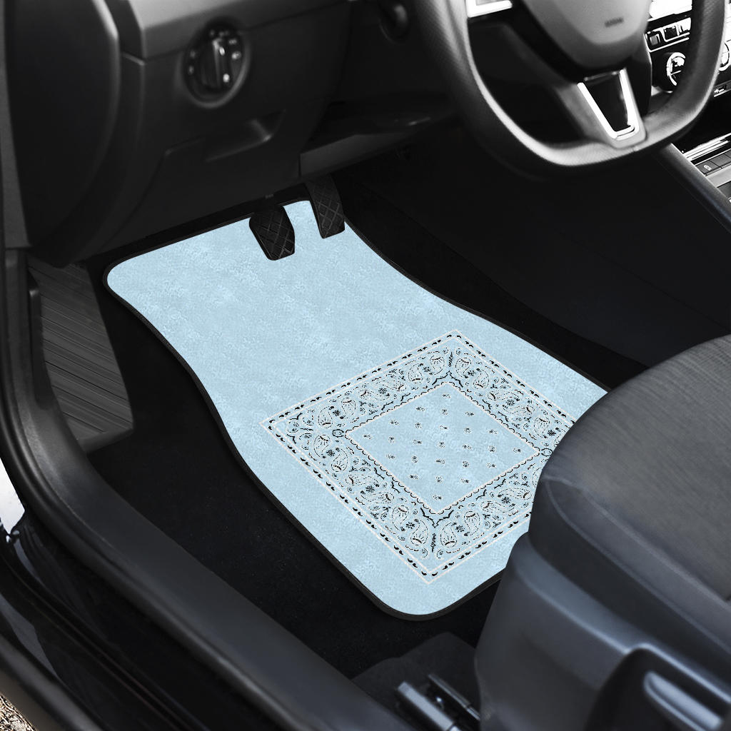 Quad Light Blue Bandana Car Floor Mats - Minimal