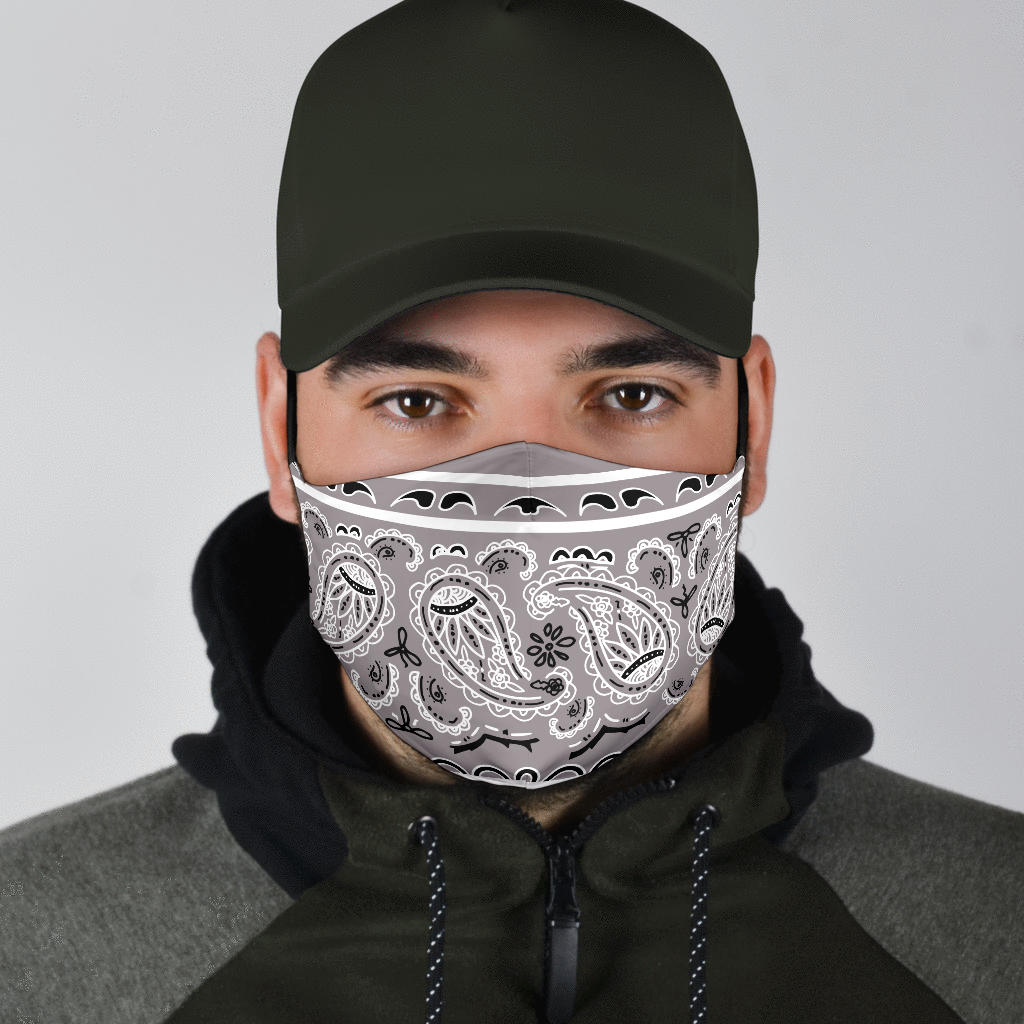 gray bandana face mask