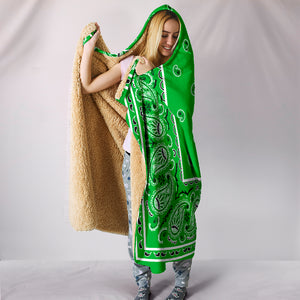 Lime Green Bandana Hooded Blanket Front