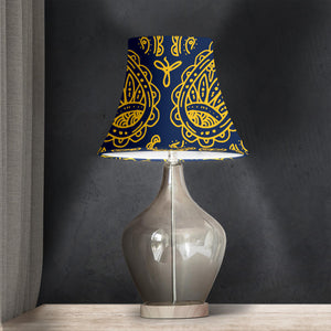 Navy and Gold Paisley Bell Lampshade