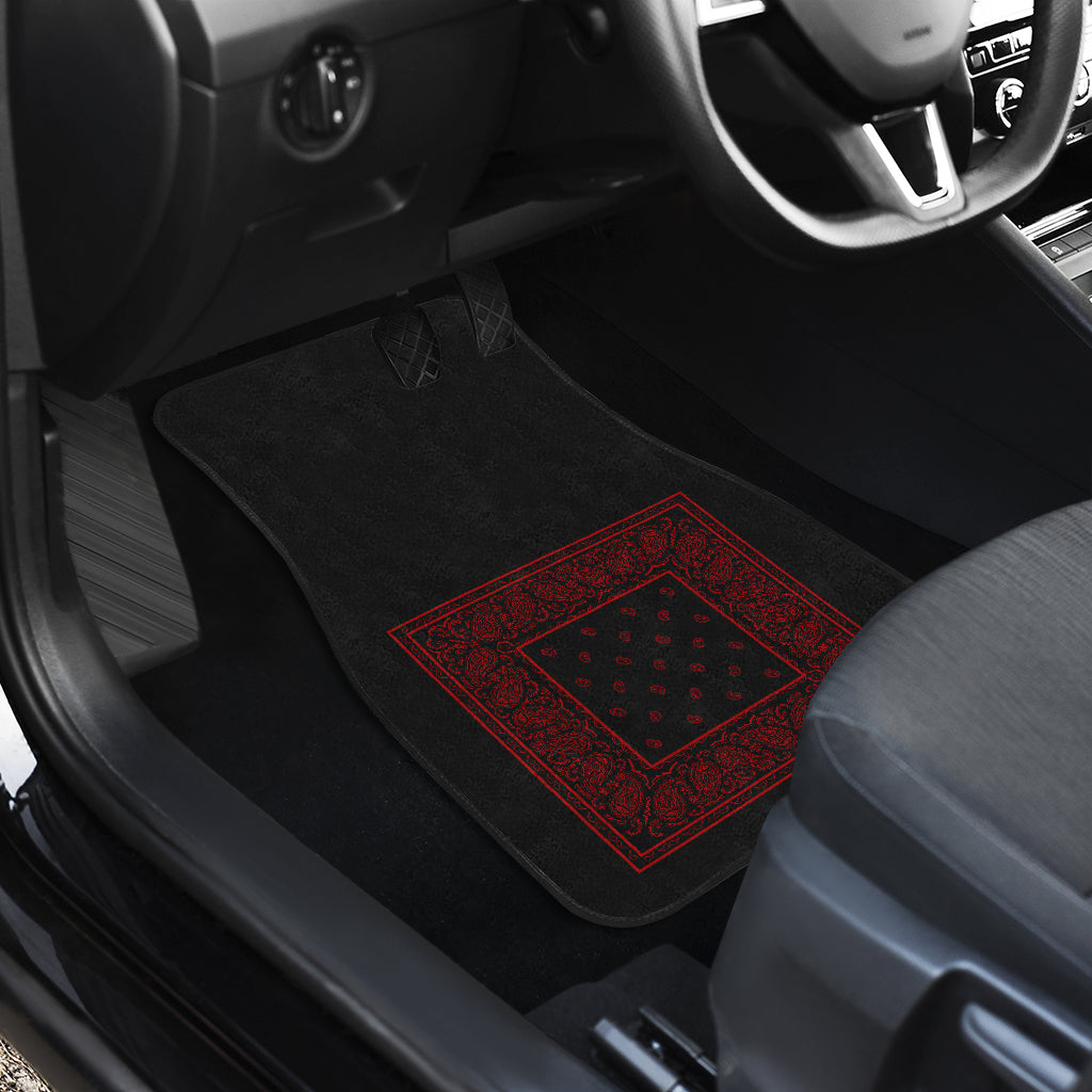Quad Black and Red Bandana Car Mats - Minimal