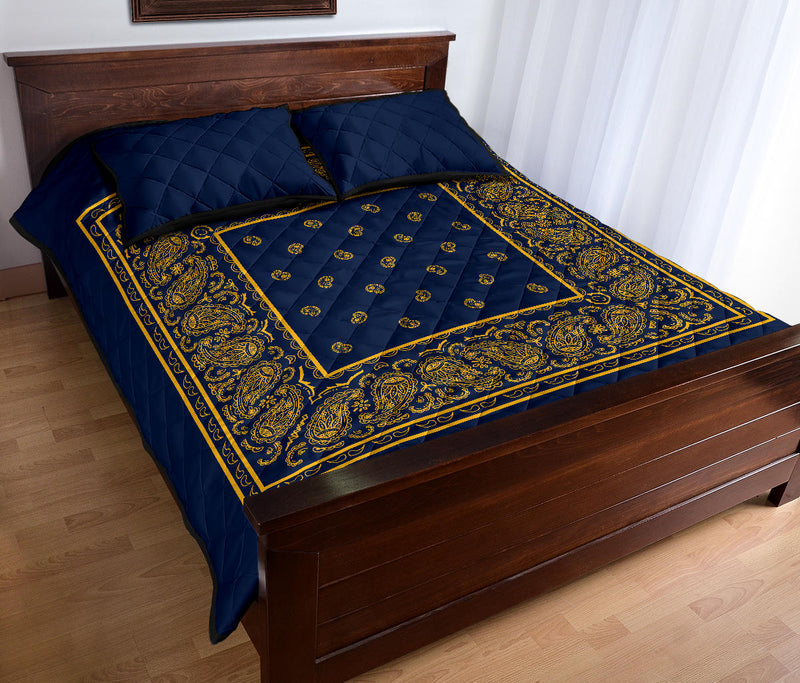 navy blue and gold bedspread set