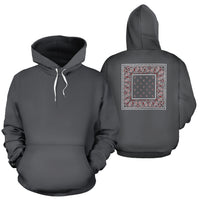 gray and red bandana pullover hoodie