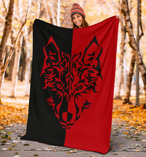 Red Wolf Tribal Tattoo Fleece Throw Blanket