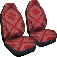 red and grey car seat covers