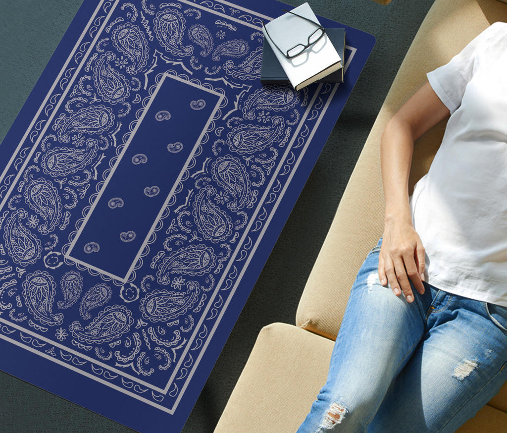 Blue and Gray Bandana Rectangular Coffee Tables