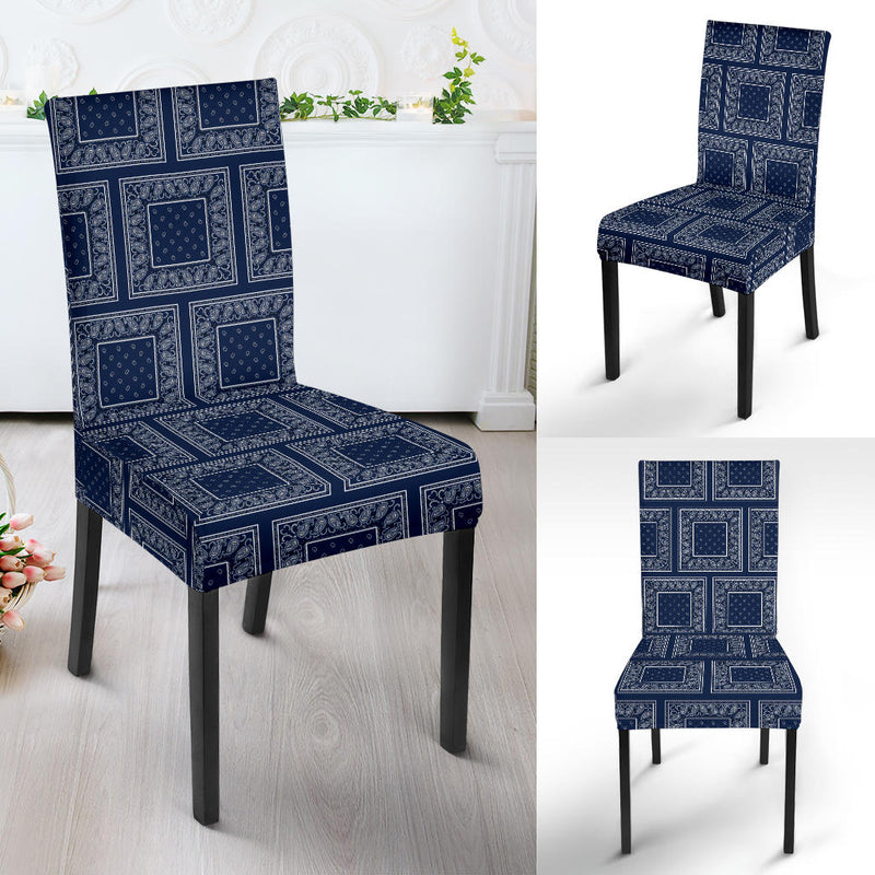 Navy Blue Bandana Dining Chair Covers - 4 Patterns