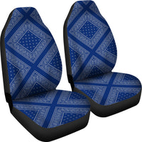 Blue and Gray Bandana Car Seat Covers - Diamond