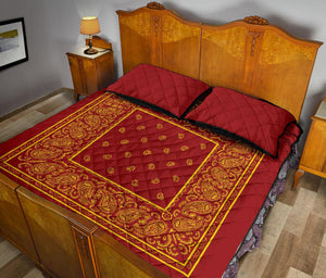 Queen Red and Gold Bandana Bed Quilts with Shams