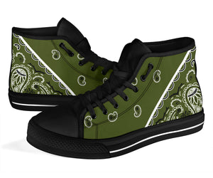 Army Green Bandana High Top Sneakers - No Box