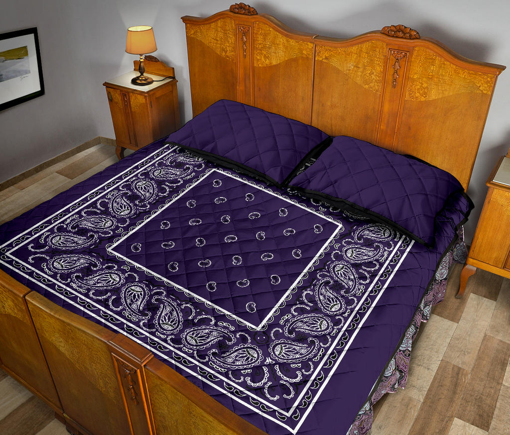Royal Purple Bandana Bed Quilts with Shams