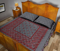 Gray and Red Bandana Bed Quilts with Shams