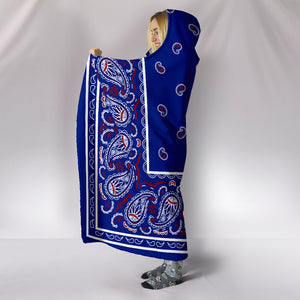 side view Blue Bandana Hooded Blanket