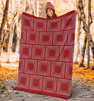 Red Bandana Patch Throw Blanket