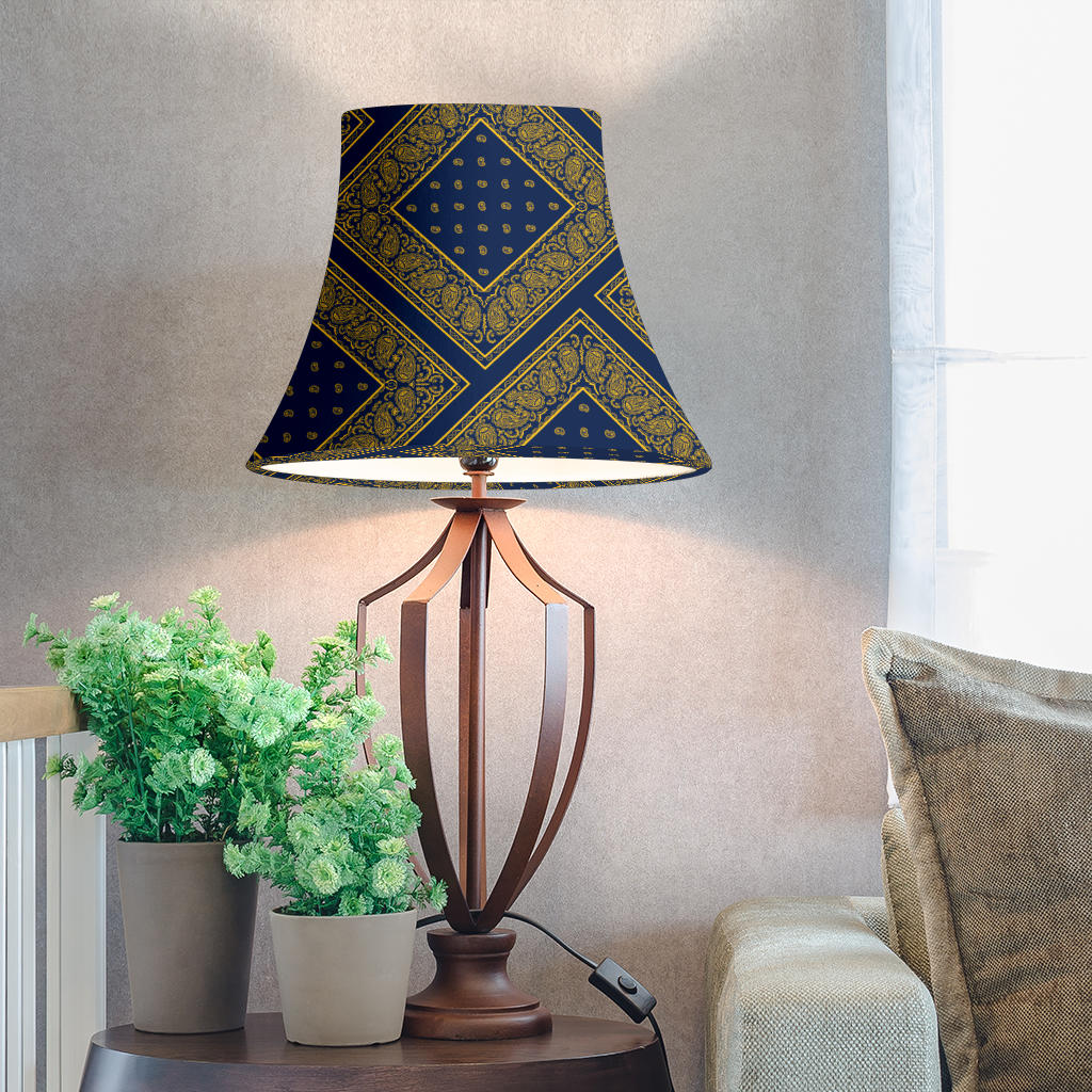 Navy and Gold Bandana Bell Lampshade