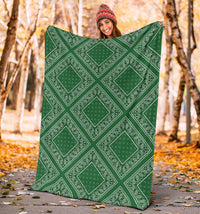 Green Bandana Throw Blankets