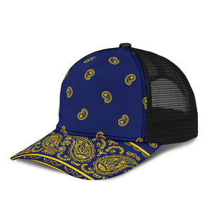 blue and gold bandana cap