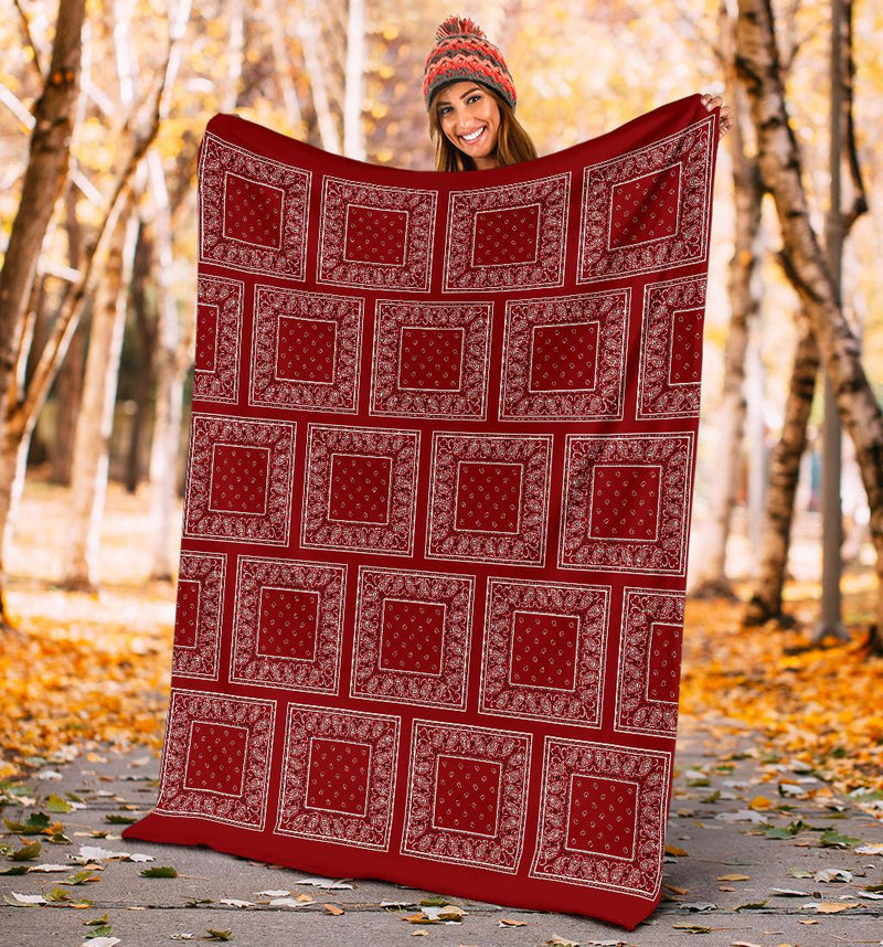 Maroon Red Bandana Throw Blankets