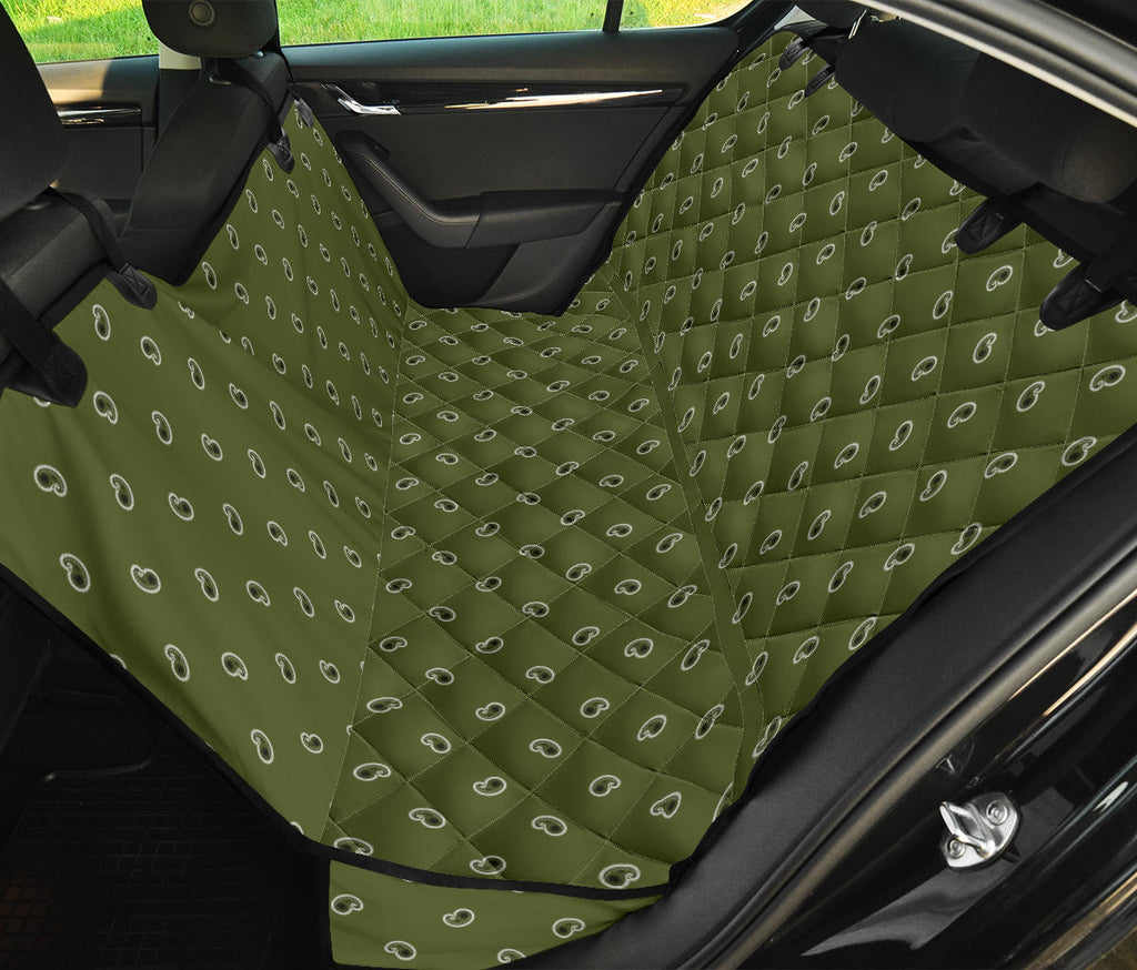 green paisley pet car seat cover