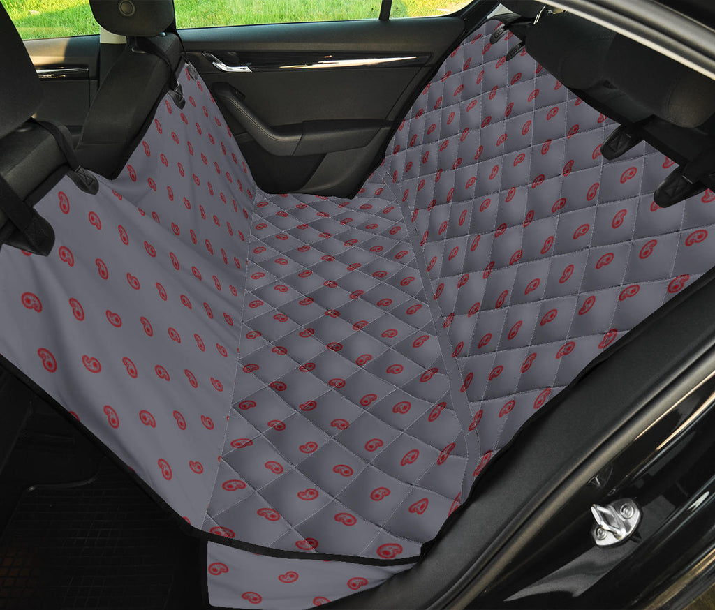 gray and red auto seat cover for pets