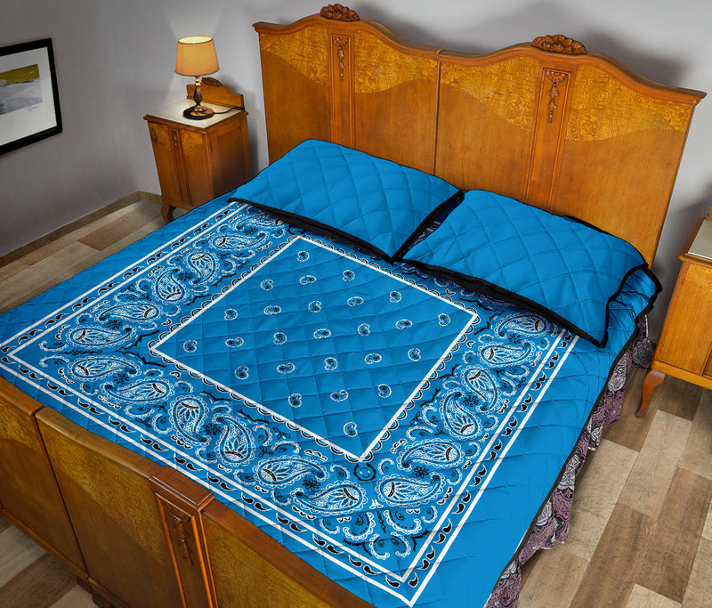 Sky Blue Bandana Bed Quilts with Shams