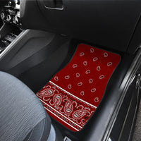 Dual Maroon Bandana Car Floor Mats - Fancy