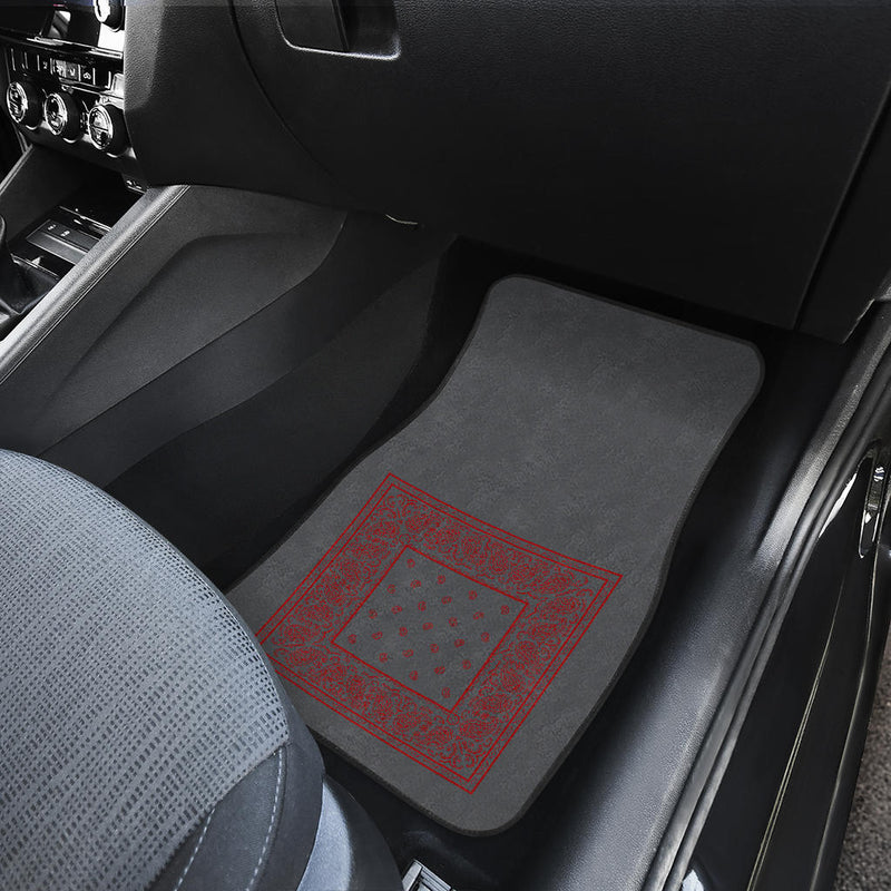 Quad Gray and Red Bandana Car Mats - Minimal