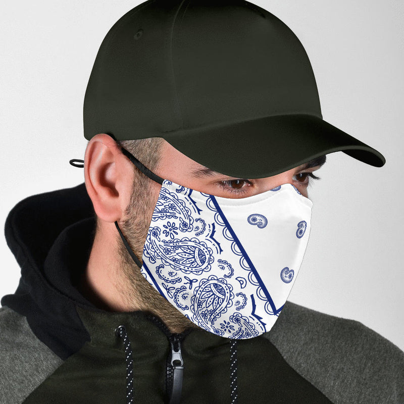 White and Blue Bandana Corner Face Mask