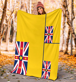 Niue Flag Fleece Throw Blankets
