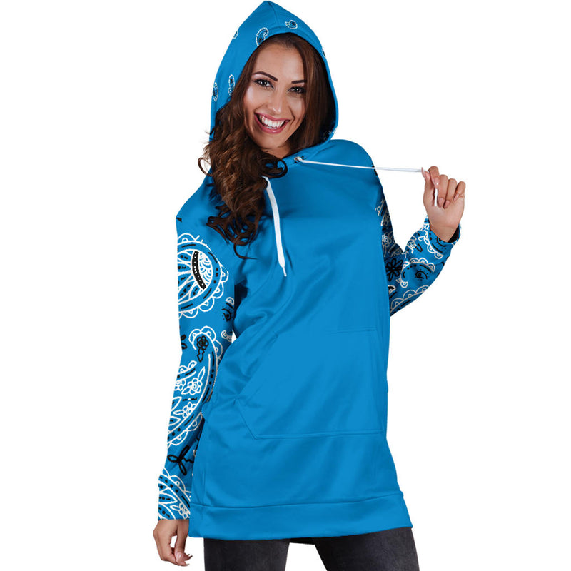 Aqua Blue Bandana Hoodie Dress