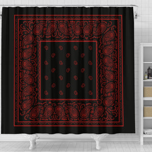 black with red bandana shower curtain