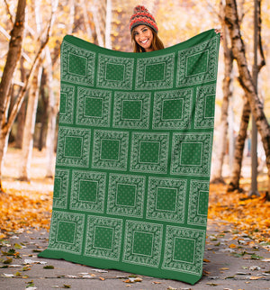 Green Bandana Patch Throw Blankets
