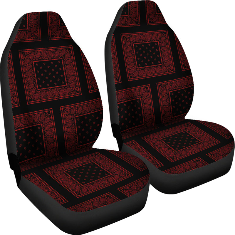 Black and Red Bandana Car Seat Covers - Patch