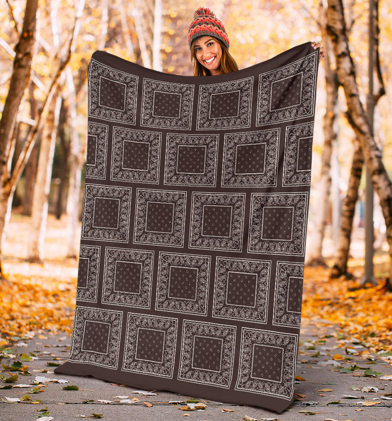 Coffee Brown Bandana Throw Blanket