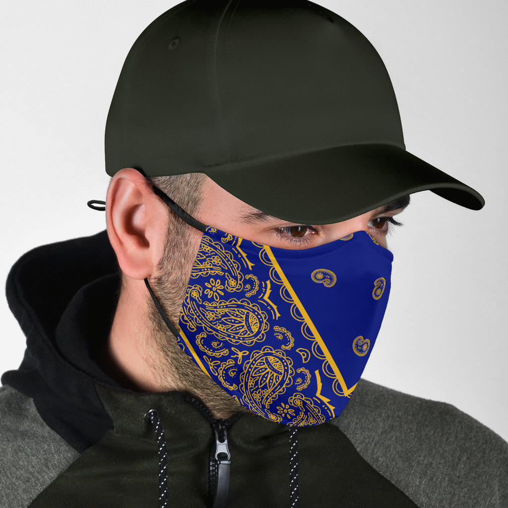 Adjustable Blue and Gold Bandana Face Mask with 5 Layer Filters