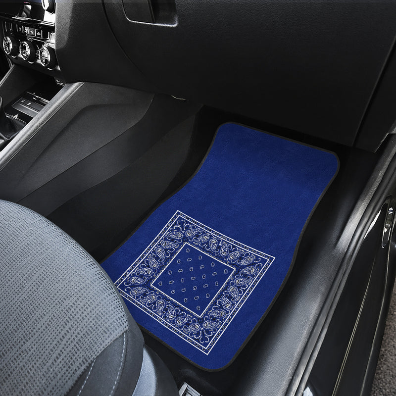 Dual Royal Blue Bandana Car Mats - Minimal